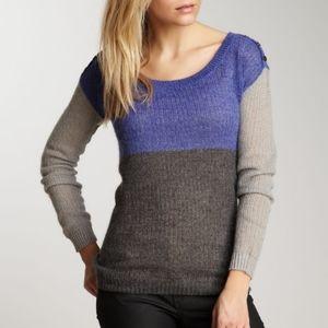 Splendid Mohair Wool Blend Colorblock Knit Sweater